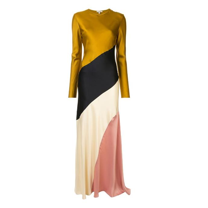 "***Dress code: Black tie***<br><Br> Dress by Layeur, $1,070 at [Farfetch](https://www.farfetch.com/au/shopping/women/layeur-diagonal-stripe-long-dress-item-14505637.aspx?storeid=11621|target=""_blank""|rel=""nofollow"")."