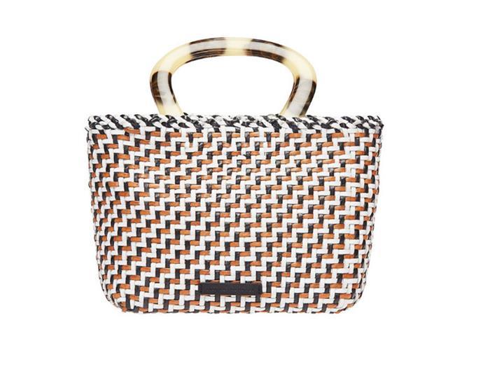 "Bag by Loeffler Randall, $450 at [MYER](https://www.myer.com.au/p/loeffler-randall-eden-woven-mini-tote|target=""_blank""|rel=""nofollow"")"