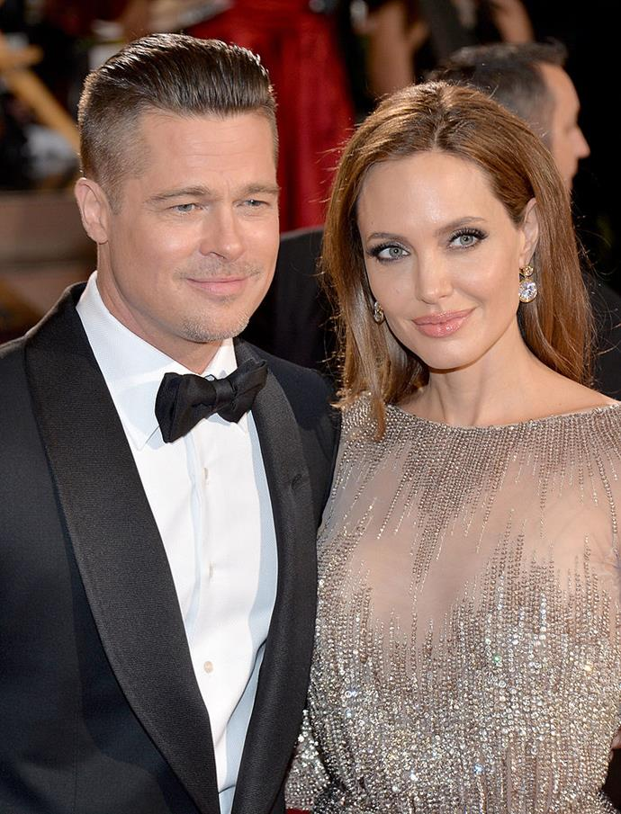 **Brad Pitt and Angelina Jolie** <br><br> Pitt and Jolie famously met on the set of the 2004 film *Mr. & Mrs. Smith*, and eventually began a relationship. They wed in a surprise ceremony in 2014, before announcing their divorce in 2016.