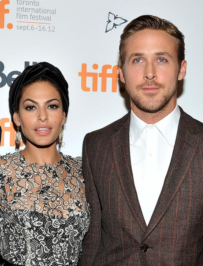 **Ryan Gosling and Eva Mendes** <br><br> Ryan Gosling and Eva Mendes met on the set of the 2011 film *The Place Beyond the Pines*, and have been together for eight years. They're also often considered to be one of Hollywood's most private couples.