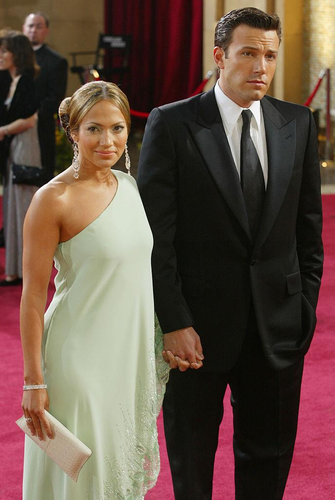 **Jennifer Lopez and Ben Affleck** <br><br> Jennifer Lopez and Ben Affleck began their two-year romance when they met on the set of the critically panned romantic comedy film *Gigli* in 2002.