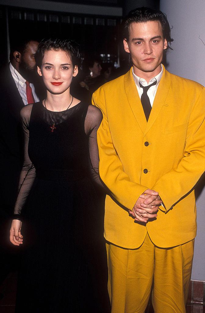 **Johnny Depp and Winona Ryder** <br><br> Depp met Winona Ryder on the set of the 1990 film *Edward Scissorhands*. Depp later proposed to Ryder (and even got a tattoo in her honour), before they called it quits around 1993.