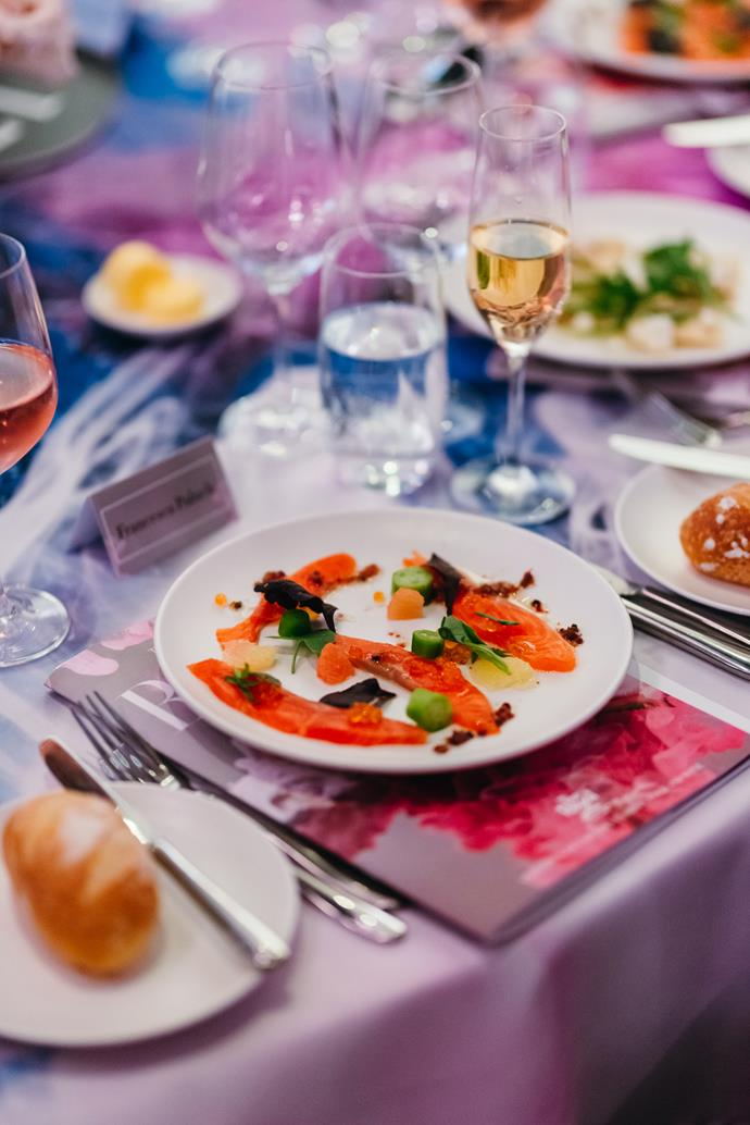 Guests dined on a meal by Matt Moran's Chiswick at the Gallery, accompanied by wine from South Australia's Bird in Hand Winery.