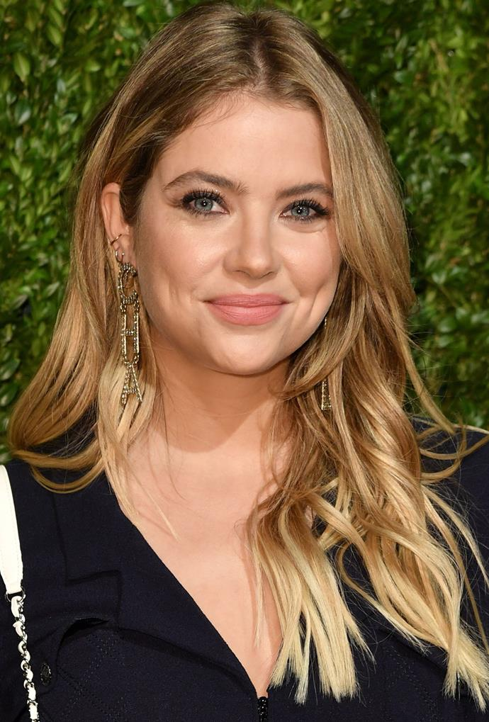 **Ashley Benson** <br> Ashley Benson takes balayage bronde for a test-drive, with her blend moving from a mocha shade to a sunny honey on ends.