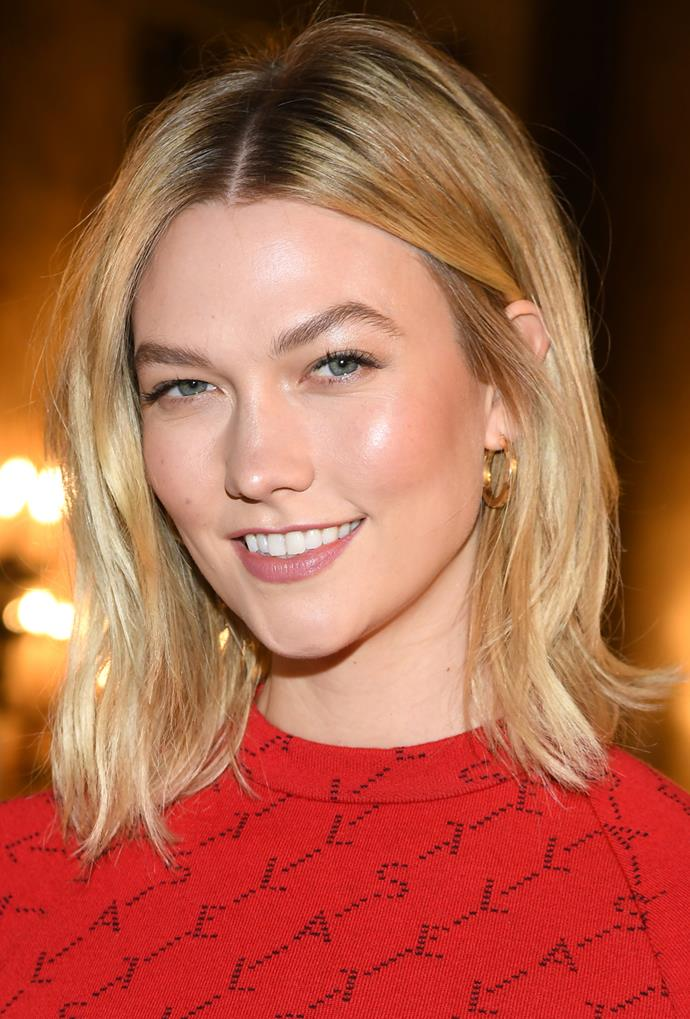 **Karlie Kloss**<br> Karlie Kloss' bright blonde honey hue leaves her skin looking luxuriously luminous.