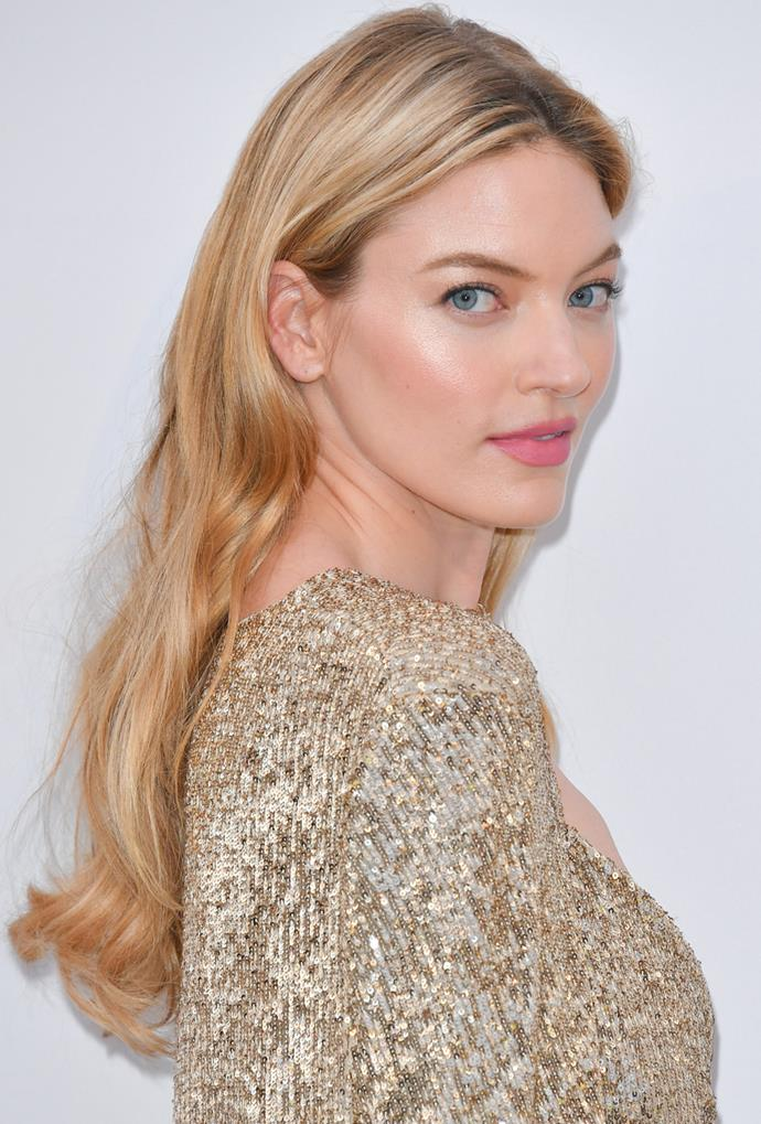 **Martha Hunt**<br> Martha Hunt's golden-blonde mane makes her glowy skin and blue eyes pop.