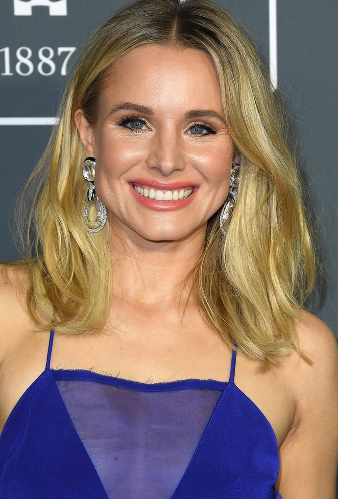 **Kristen Bell**<br> Kristen Bell takes honey and lemon from a beverage blend to a covetable colour—deliciously good.