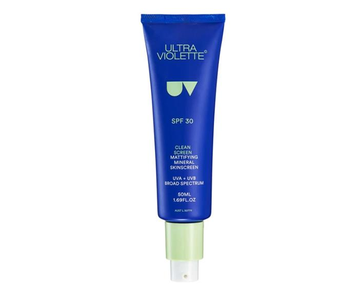 **Ultra Violette Clean Screen SPF 30 Mattifying Mineral Skinscreen**, $41 from Ultra Violette