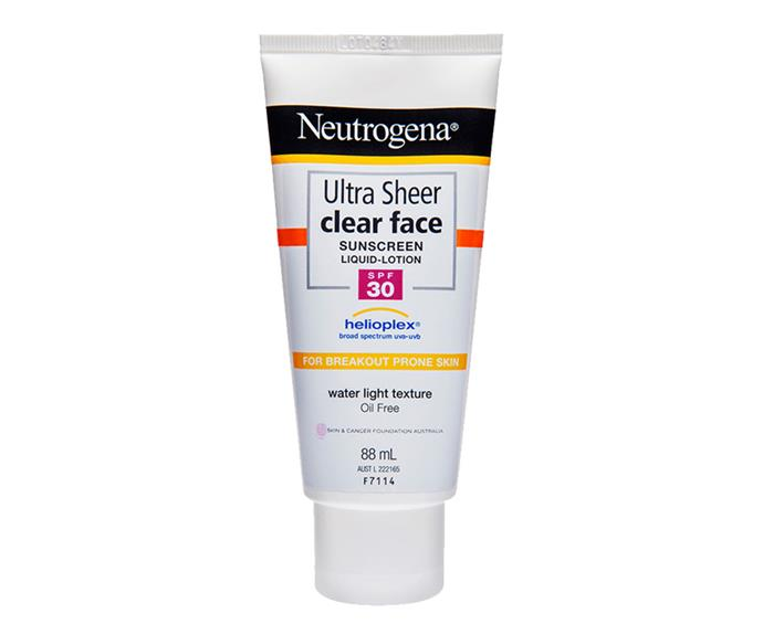 **Neutrogena Ultra Sheer Clear Face Lotion SPF30**, $15 from Priceline Pharmacy