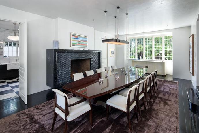 "The dining room<br><br>  *Image by Tyler Hogan via [Mansion Global](https://www.mansionglobal.com/articles/former-beverly-hills-home-of-jennifer-aniston-and-brad-pitt-asks-49-million-203446|target=""_blank""