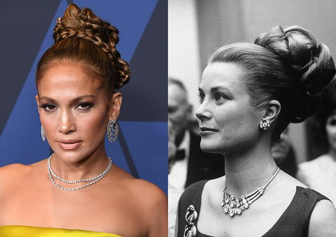 """***Jennifer Lopez***<br><br> Stepping out at the [Governors Awards in 2019](https://www.harpersbazaar.com.au/fashion/governors-awards-2019-red-carpet-19495