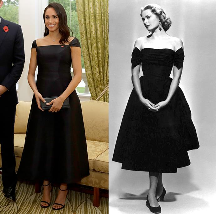 ***Meghan, Duchess of Sussex***<br><br> When Meghan Markle stepped out in New Zealand wearing this fit-and-flare dress, many pointed out the similarity to Grace Kelly's *Dial M for Murder* dress.