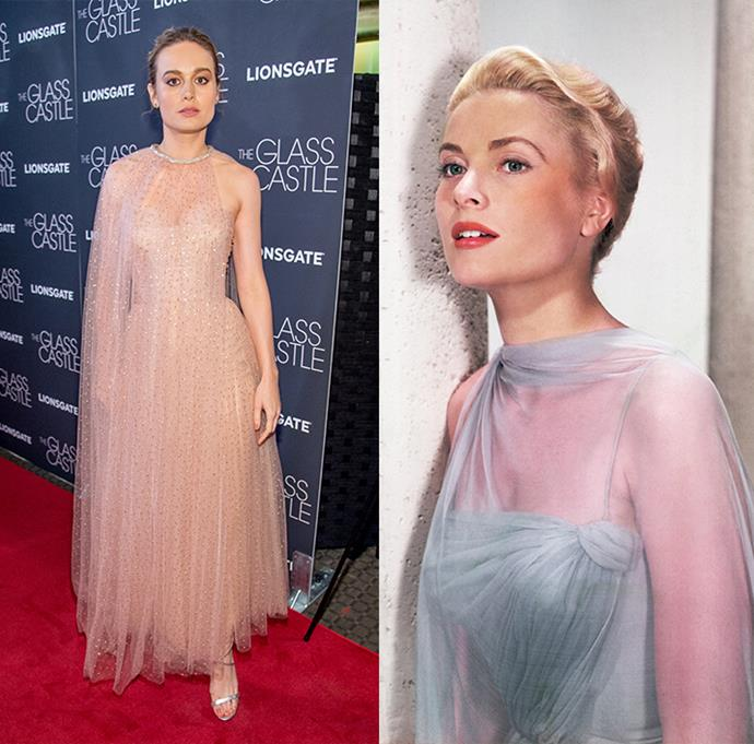 ***Brie Larson***<br><br> From the elegant bun to the asymmetrical tulle cape, this Monique Lhuillier dress bears a resemblance to one worn by the princess.