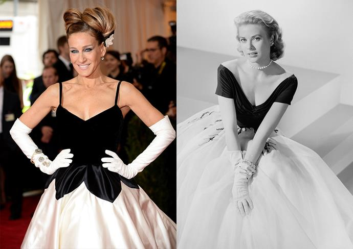 ***Sarah Jessica Parker***<br><br> From the black bodice, white skirt and white gloves, SJP's 2014 Met Gala outfit bore a striking resemblance to Grace Kelly's look in *Rear Window*.