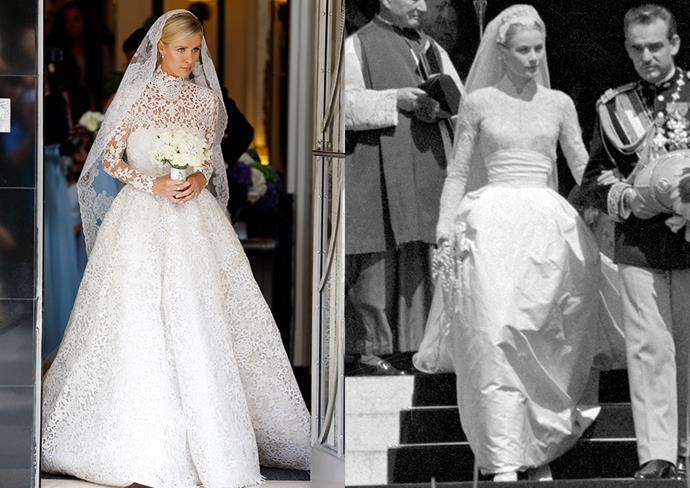 """***Nicky Hilton***<br><br> Nicky Hilton's high necked guipure-dentelle lace gown was inspired by Grace Kelly's. Hilton said of the inspiration: """"I love Grace Kelly. She can do no wrong."""""""