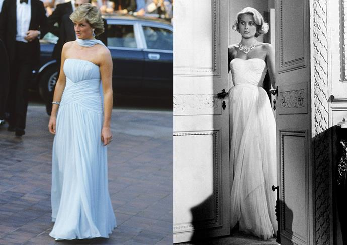 ***Diana, Princess of Wales***<br><br> Rumour has it that Princess Diana's Catherine Walker gown for the 1987 Cannes Film Festival was inspired by Grace Kelly's pleated gown in *To Catch A Thief.*