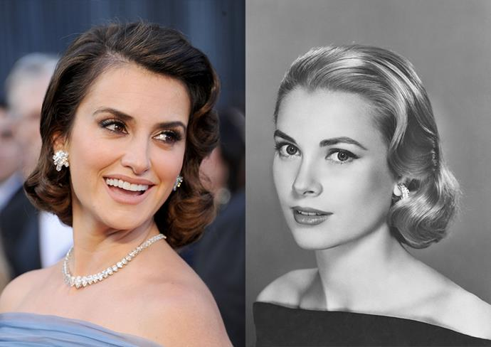 ***Penélope Cruz***<br><br> For her appearance at the 2012 Oscars, Penélope Cruz wore a tucked and waved hairstyle reminiscent of Grace Kelly's signature look.