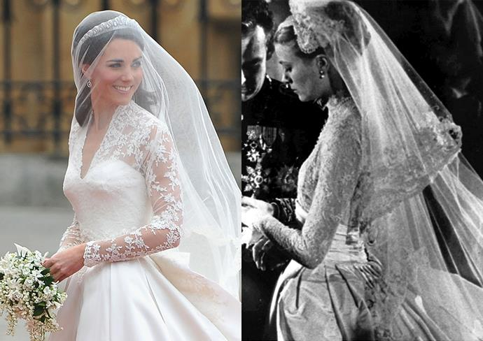 ***Catherine, Duchess of Cambridge***<br><br> Although she's never confirmed it, many have thought Grace Kelly was the inspiration behind Kate Middleton's Alexander McQuen wedding dress, which features many of the same elements, including full-length lace sleeves, a full pleated skirt, a fitted bodice and a defined waist.
