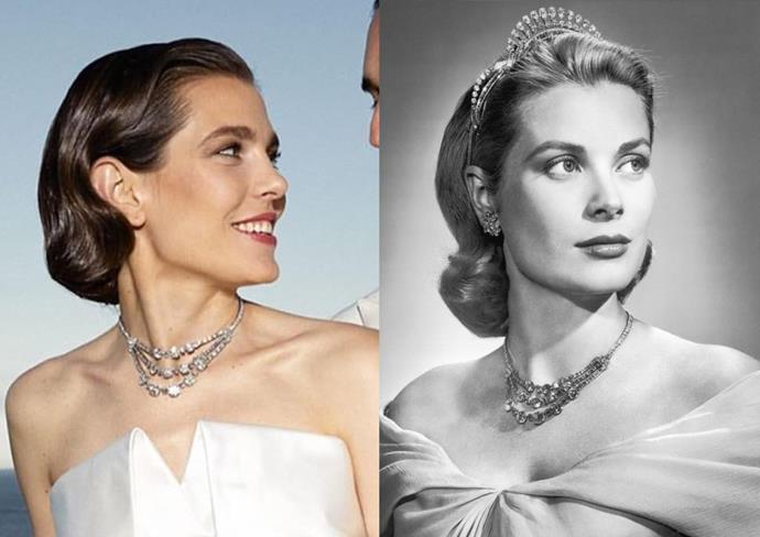 ***Charlotte Casiraghi***<br><br> As Grace Kelly is her grandmother, it's no surprise that Charlotte Casiraghi looked to her for inspiration for her wedding. The royal chose to wear her famous diamond festoon necklace as a tribute.