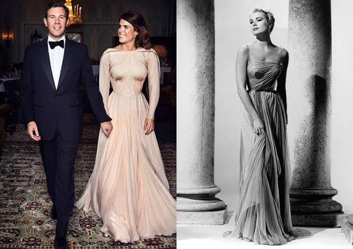 """***Princess Eugenie of York***<br><br> Princess Eugenie revealed she used an image of Grace Kelly in *To Catch a Thief* as inspiration for her reception gown. """"I wanted something reminiscent of Grace Kelly in *To Catch a Thief* so I showed that for reference and Zac [Posen] came up with this silk that he'd found from Manchester,"""" she said."""