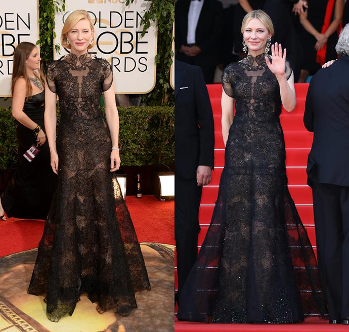 Blanchett wearing an Armani gown in 2014 (left) and in 2018 (right).