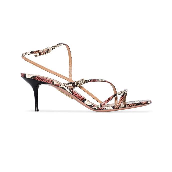 """***Animal Kingdom***<br><br> Sandals by Aquazzura, $1,072 at [Farfetch](https://www.farfetch.com/au/shopping/women/aquazzura-carolyne-60mm-snakeskin-effect-sandals-item-14002223.aspx target=""""_blank"""" rel=""""nofollow"""")."""