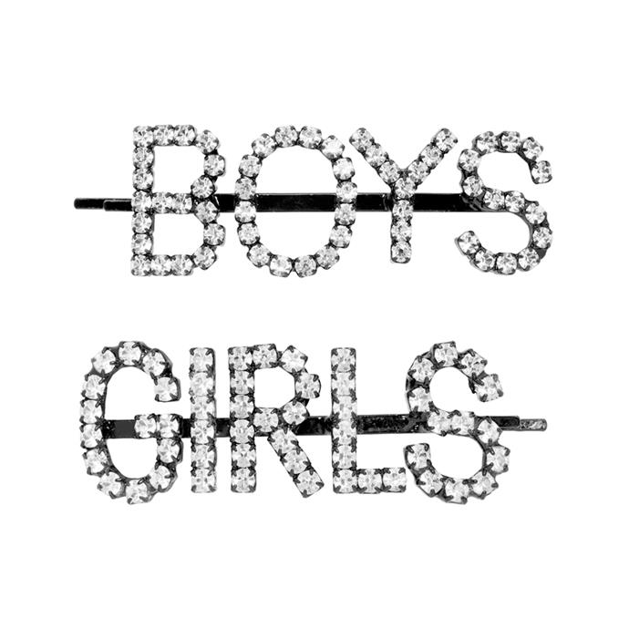 """***A Statement Barrette***<br><br> Hair clips by Ashley Williams, $185 at [Ssense](https://www.ssense.com/en-au/women/product/ashley-williams/ssense-exclusive-black-and-transparent-girlsboys-hair-clips/4438941 target=""""_blank"""" rel=""""nofollow"""")."""
