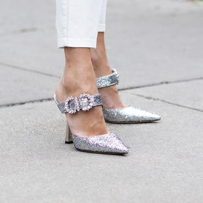 """***Disco Heels***<br><br> """"Brands like Christopher Kane, Amina Muaddi, Miu Miu and Isabel Marant are all offering fabulous embellished sandals and pumps this season,"""" says O'Neill. Embrace glitter, sequins, feathers and OTT details to put your footwear in the spotlight"""