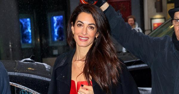 Amal Clooney Wears Red Burberry Dress And Almost Trips Over   Harper's BAZAAR Australia
