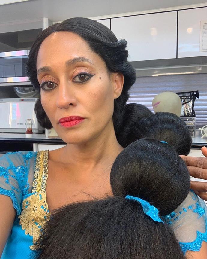 Tracee Ellis Ross as Princess Jasmine from *Aladdin*.<br><br>  *Image via @traceeellisross*
