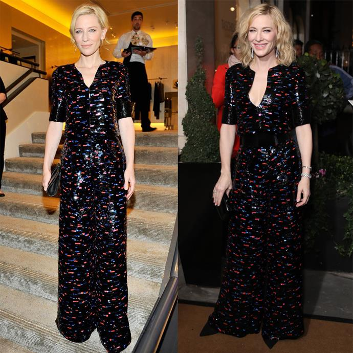 Cate Blanchett at a Giorgio Armani dinner in 2014, and at the 2019 *BAZAAR* U.K. Women of the Year Awards in 2019.