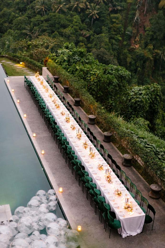 "**On the location:** ""Our ceremony was at Alila Ubud sculpture garden and the reception was next to the infinity pool."""