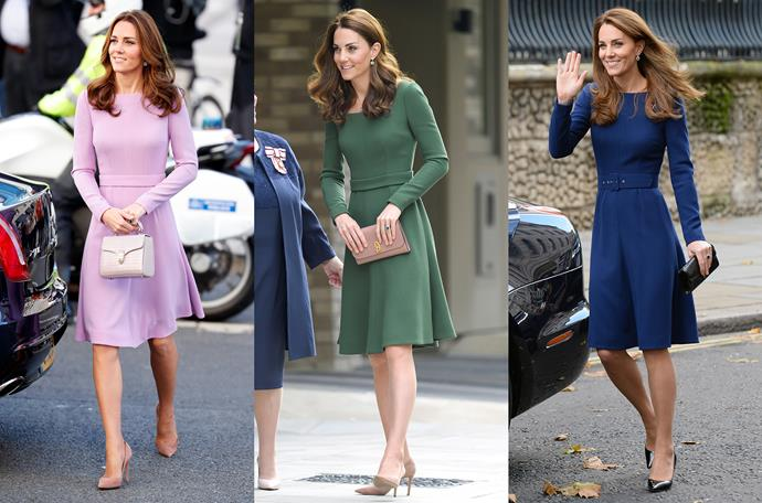 "After wearing the lilac version twice, Kate had this Emilia Wickstead fit-and-flare made in a green. and then ordered yet another in sapphire blue. In fact, she's worn this dress so much that the designer re-named it ""The Kate"" [in her honour](https://www.harpersbazaar.com.au/celebrity/fashion-items-named-after-kate-middleton-15190