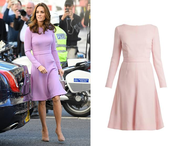 "***Emilia Wickstead's ""Kate"" dress***<br><br> After the Duchess wore this fit-and-flare dress by Emilia Wickstead in [three different colours](https://www.harpersbazaar.com.au/celebrity/kate-middleton-dresses-in-different-colours-13490