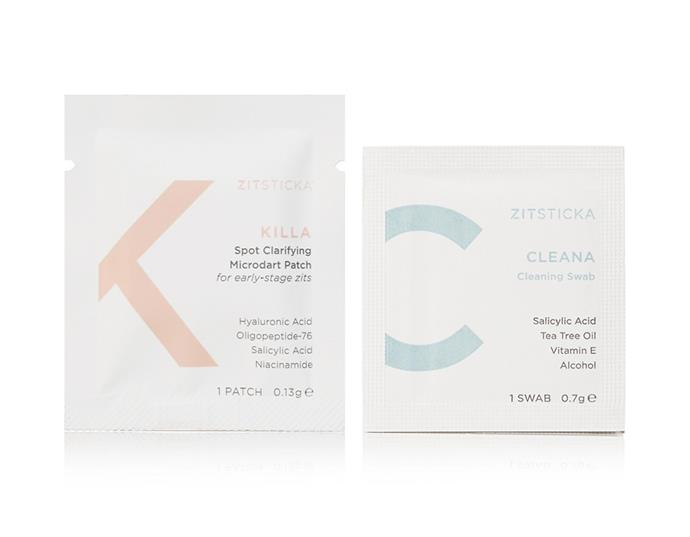 "KILLA Spot Clarifying Patch Kit by ZITSTICKA, $50.17 at [Net-a-Porter](https://www.net-a-porter.com/au/en/product/1226018/ZitSticka/killa-spot-clarifying-patch-kit|target=""_blank""|rel=""nofollow"")"