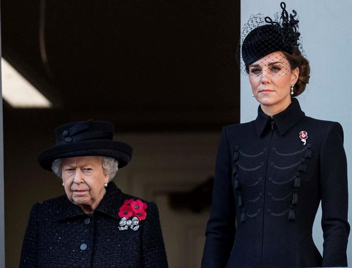 The Queen and Catherine, Duchess of Cambridge, during Remembrance Sunday.