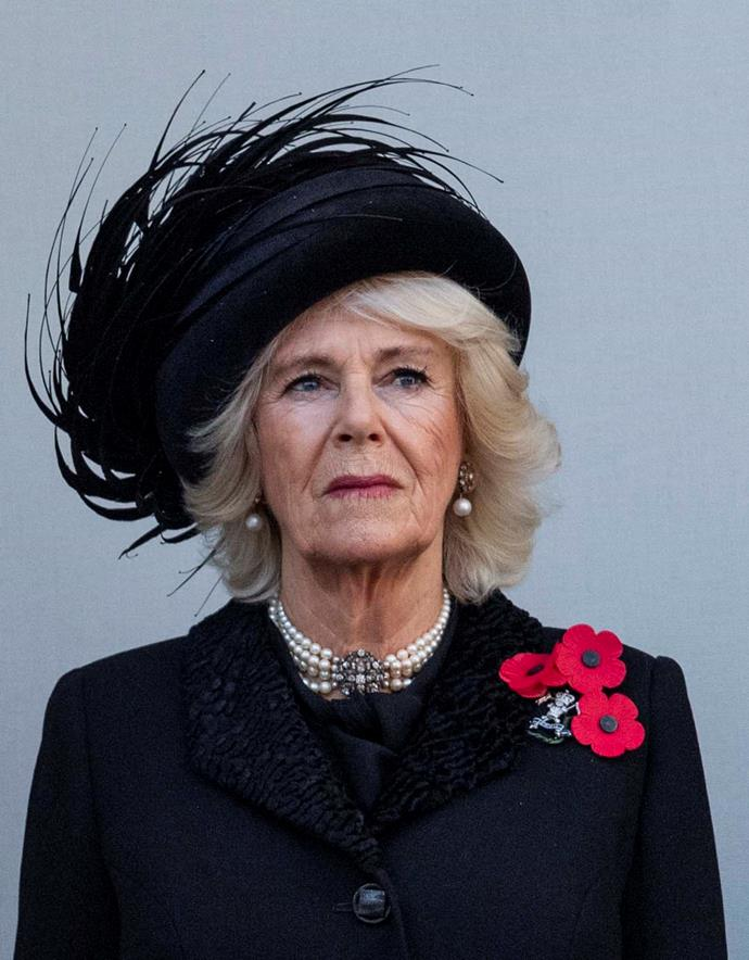 Camilla, Duchess of Cornwall, during Remembrance Sunday.