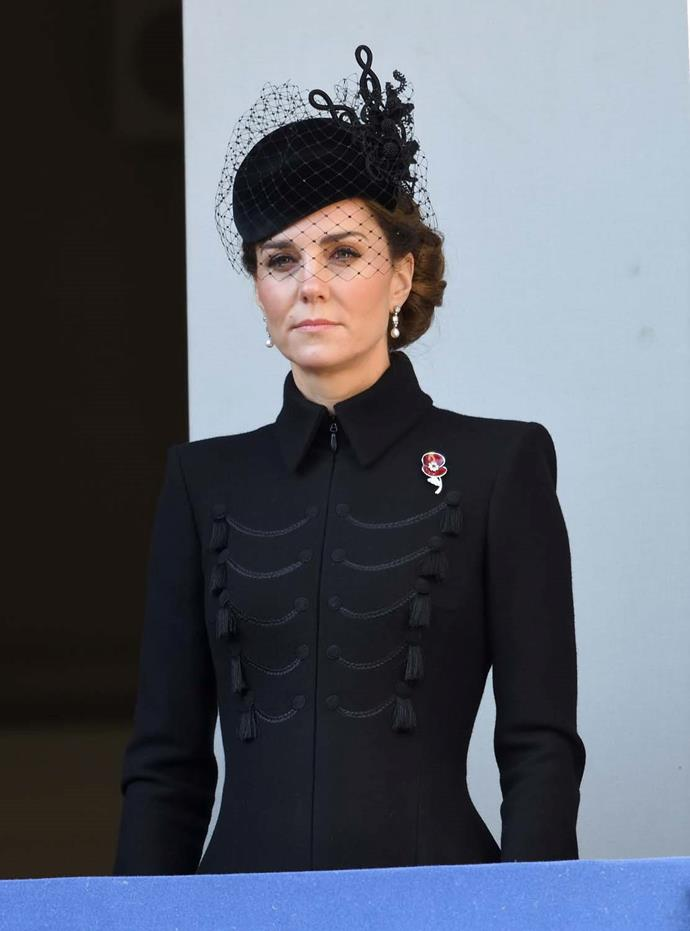 Catherine, Duchess of Cambridge, during Remembrance Sunday.