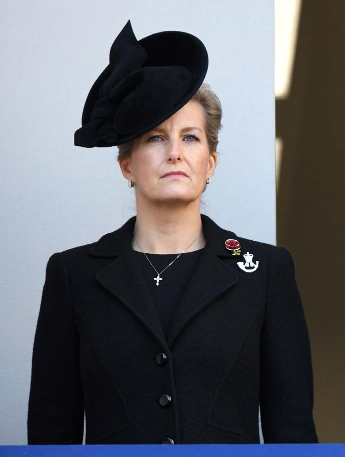 Sophie, Countess of Wessex, during Remembrance Sunday.