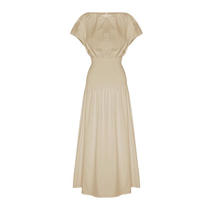 "Dress, $595 by [Anna Quan](https://annaquan.com/collections/dresses/products/emma-kate-dress-tan|target=""_blank""|rel=""nofollow"")."