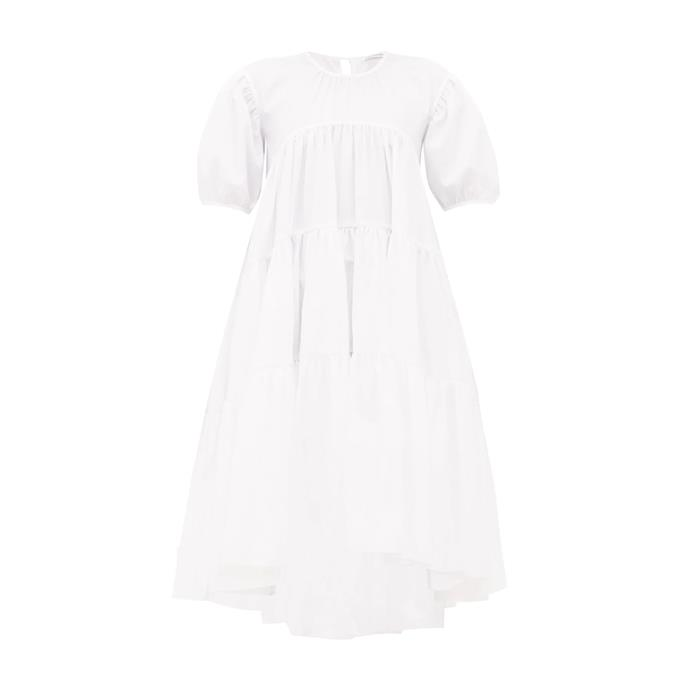 "Dress by Cecilie Bahnsen, $1,232 at [MATCHESFASHION.COM](https://www.matchesfashion.com/au/products/Cecilie-Bahnsen-Esme-tie-back-tiered-faille-midi-dress-1336514|target=""_blank""