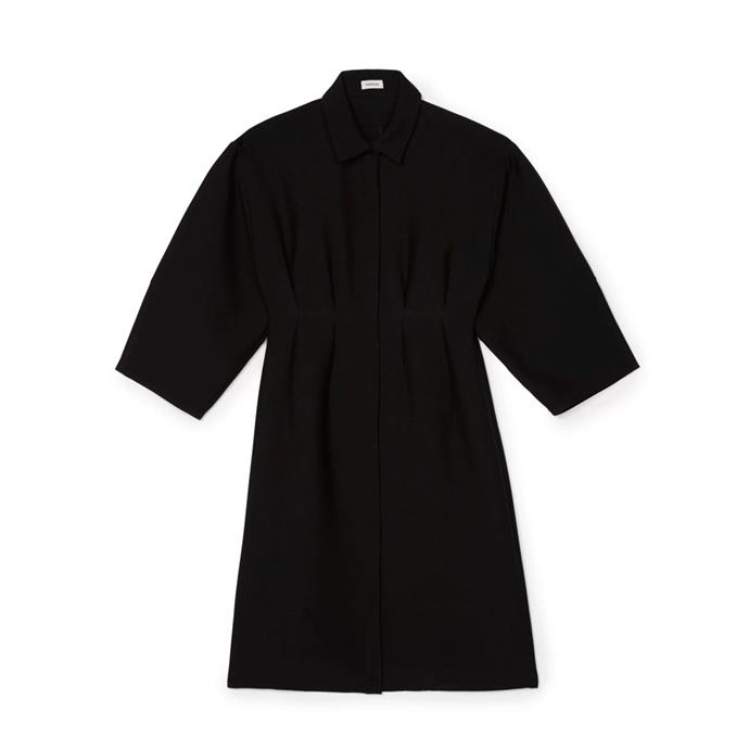 "Dress, approx. $620 by [Totême](https://toteme-studio.com/product/maratea-dress-black/|target=""_blank""