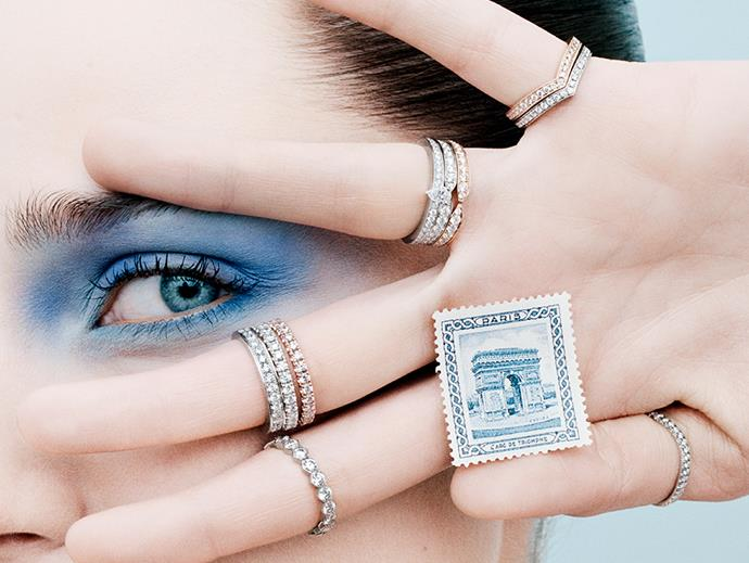 From top: Joséphine Aigrette ring in 18K white or pink gold, set with diamonds; Frisson ring in 18K white or pink gold ring, set with diamonds; Joséphine Aube Printanière wedding band in platinum or rose gold, set with diamonds; Bee My Love ring in 18K white gold, set with diamonds; Les Éternelles de Chaumet wedding band in 18K white gold ring, set with diamonds