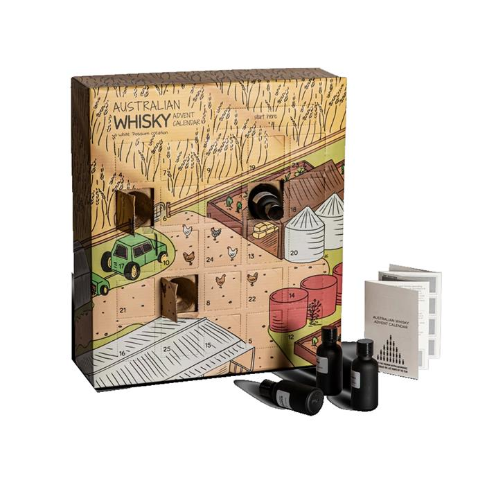 "Australian Whisky Advent Calendar, $299 by [White Possum](https://whitepossum.com.au/collections/advent-calendars/products/australian-whisky-advent-calendar-2019-edition|target=""_blank""