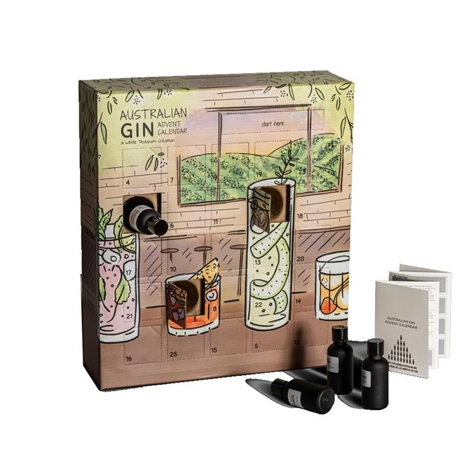 "Australian Gin Advent Calendar, $269 by [White Possum](https://whitepossum.com.au/collections/advent-calendars/products/australian-gin-advent-calendar-2019-edition|target=""_blank""
