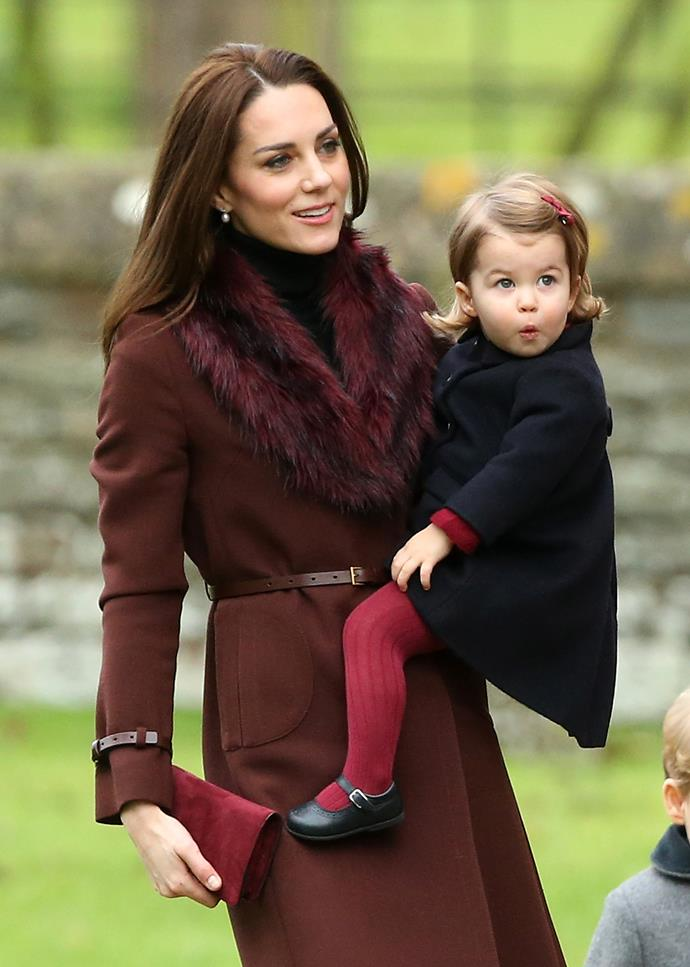 Kate and Princess Charlotte attending Christmas Mass in 2016.