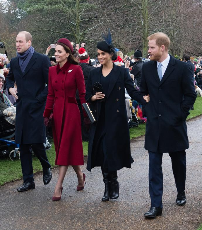 The Cambridges and Sussexes spending Christmas together in 2018.