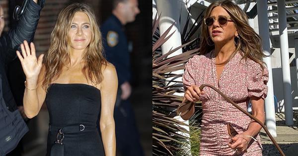 Jennifer Aniston Wore An Unexpected Floral Mini Dress | Harper's BAZAAR Australia