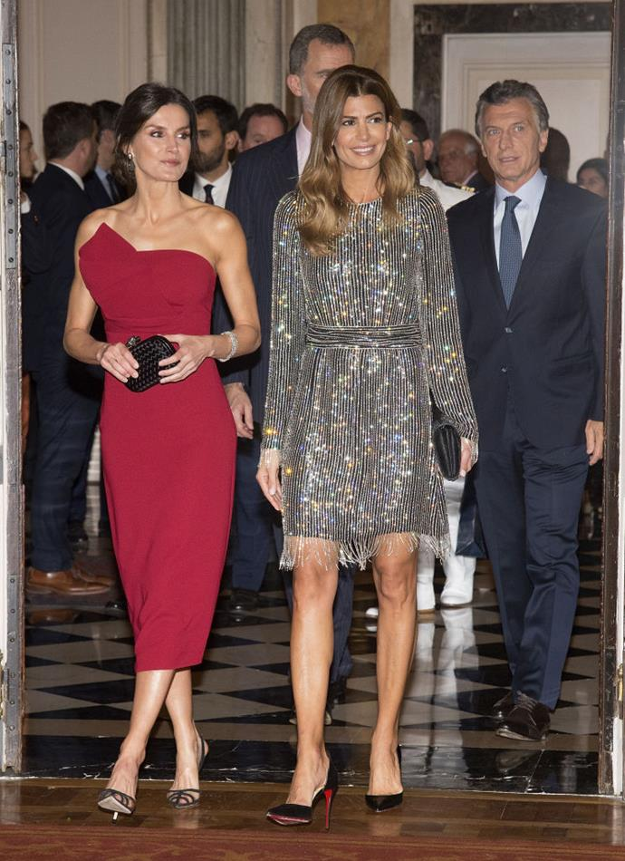 Letizia with the First Lady of Argentina, Juliana Awada, in March 2019.