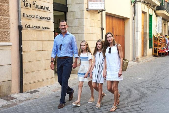 Letizia with her husband, King Felipe VI, and their two children, Princess Leonor and Princess Sofia, in August 2017.